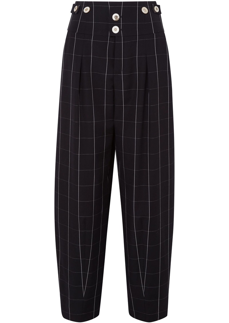 Chloé Woman Checked Wool Wide-leg Pants Black