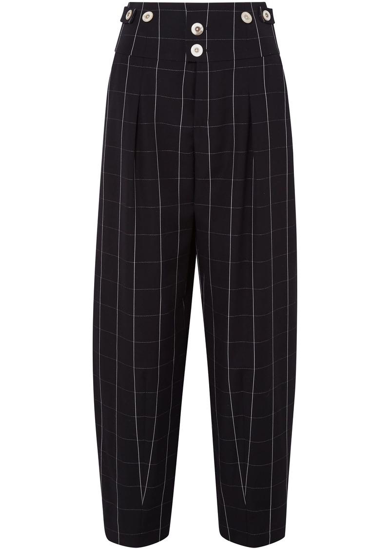Chloé Woman Checked Wool Wide-leg Pants Black