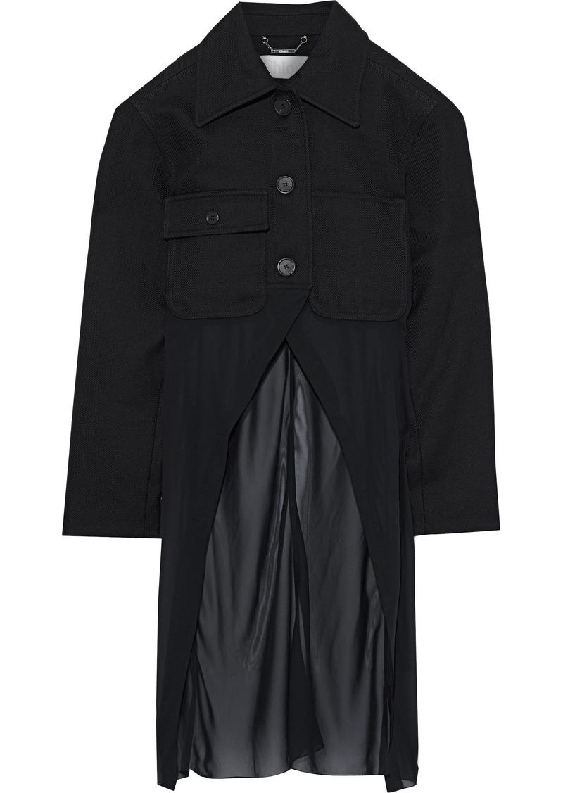 Chloé Woman Chiffon-paneled Wool-blend Twill Jacket Black