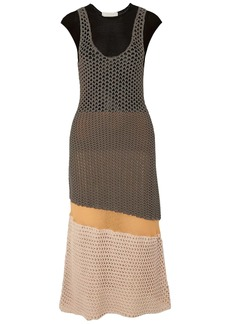 Chloé Woman Color-block Burnout-effect Crocheted Cotton-blend Midi Dress Army Green