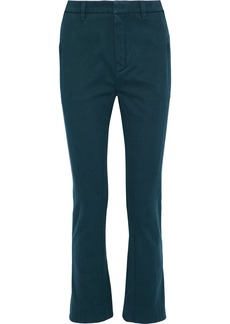 Chloé Woman Cotton-twill Slim-leg Pants Indigo