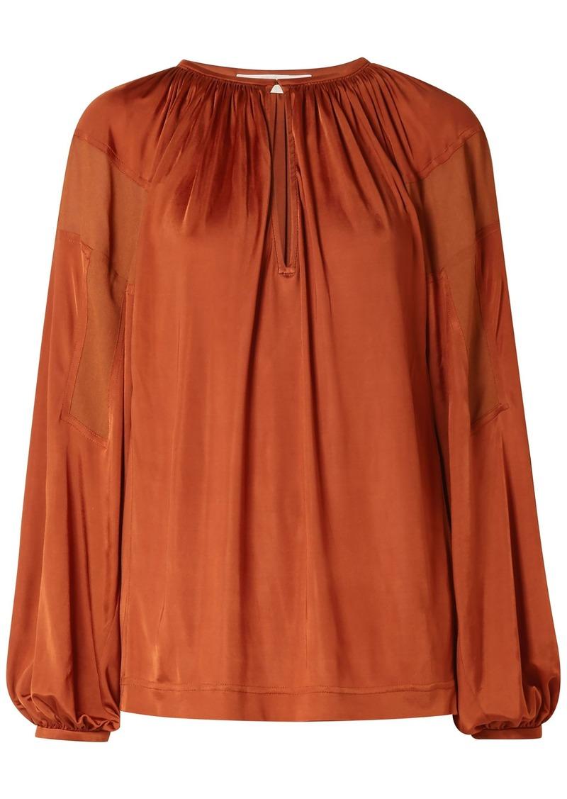 Chloé Woman Crepe-paneled Satin-jersey Blouse Copper