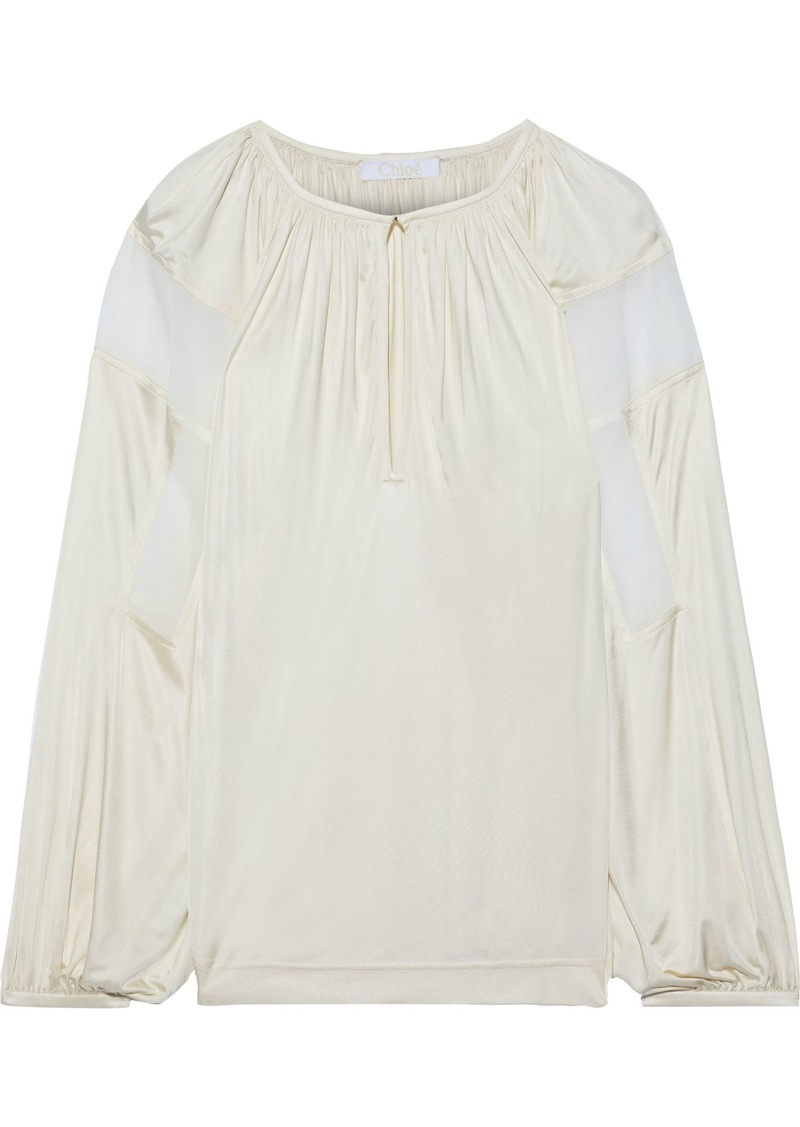 Chloé Woman Crepe-paneled Satin-jersey Blouse Cream