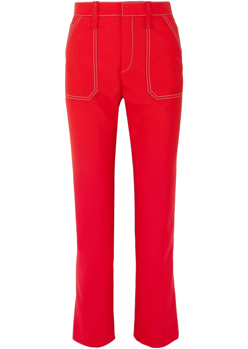 Chloé Woman Woven Slim-leg Pants Red