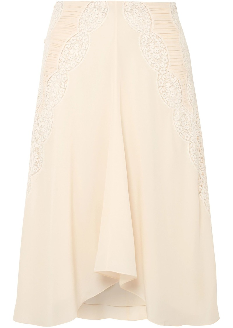 Chloé Woman Crochet-paneled Ruched Silk Crepe De Chine Skirt Cream