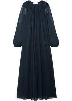 Chloé Woman Crochet-trimmed Silk-georgette Maxi Dress Storm Blue