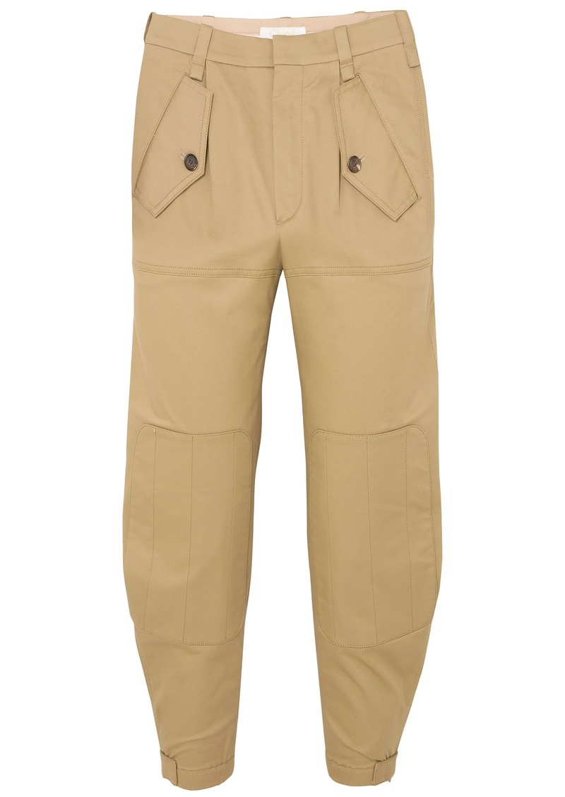 Chloé Woman Cropped Cotton-blend Gabardine Tapered Pants Sand