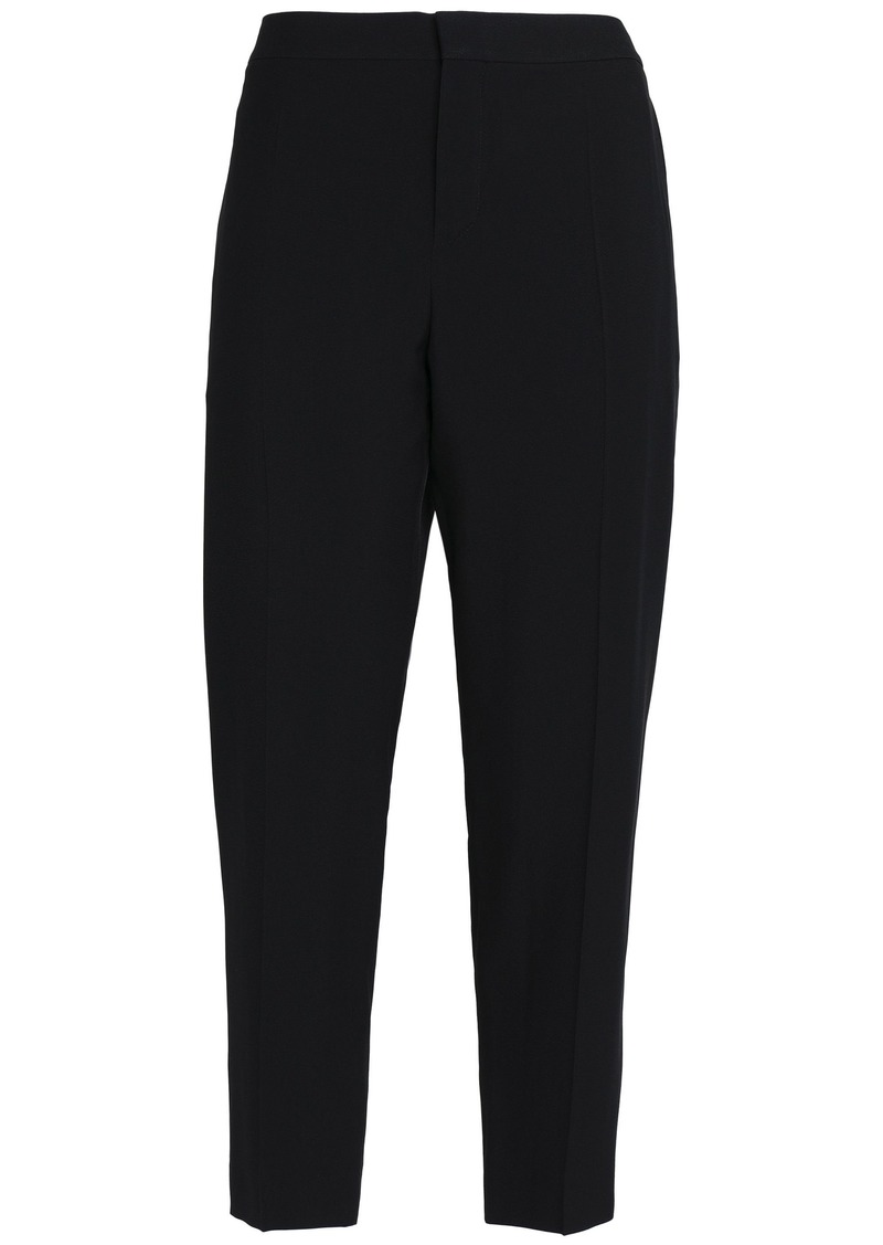 Chloé Woman Cropped Crepe Tapered Pants Black