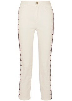 Chloé Woman Cropped Embroidered High-rise Straight-leg Jeans White