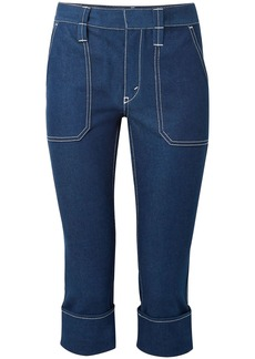 Chloé Woman Cropped High-rise Straight-leg Jeans Blue