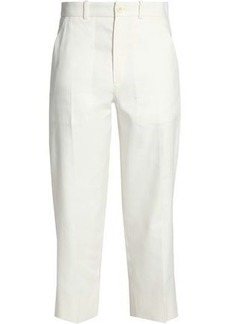 Chloé Woman Cropped Linen And Cotton-blend Twill Tapered Pants Ivory
