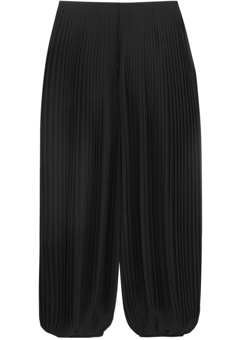 Chloé Woman Cropped Pleated Georgette Wide-leg Pants Black