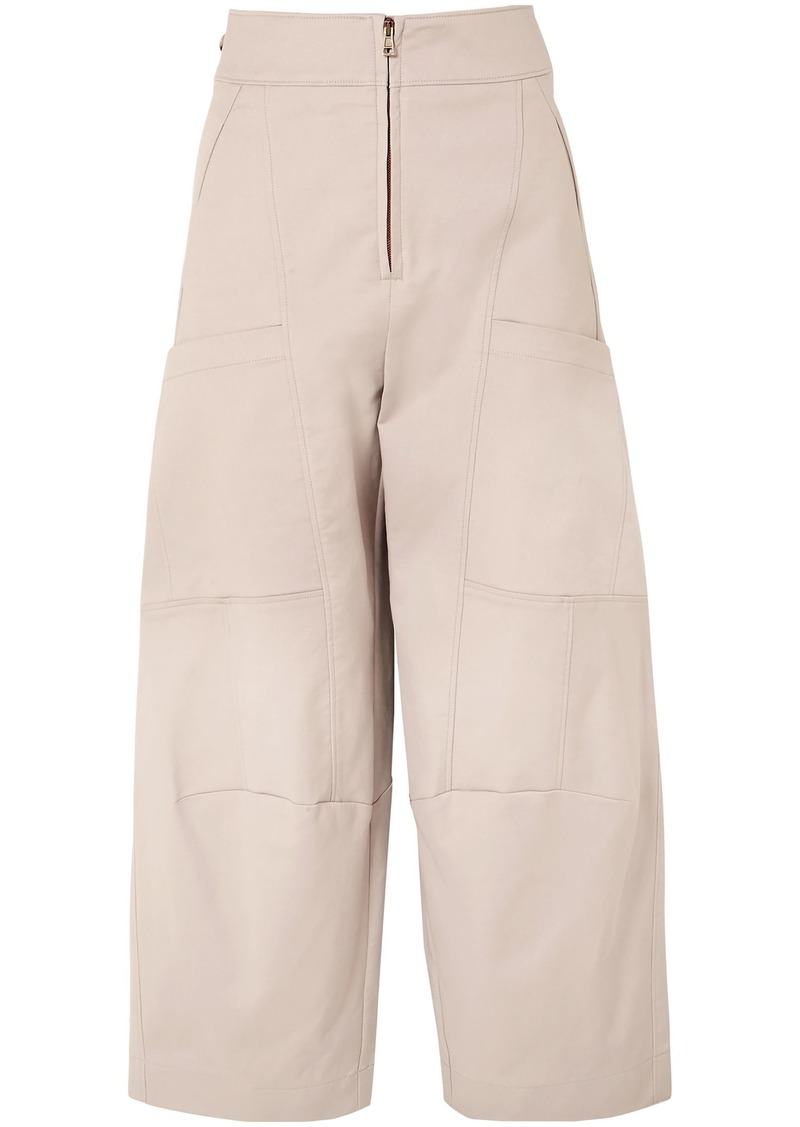 Chloé Woman Cropped Stretch-cotton Wide-leg Pants Neutral