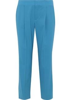 Chloé Woman Cropped Wool-blend Straight-leg Pants Turquoise