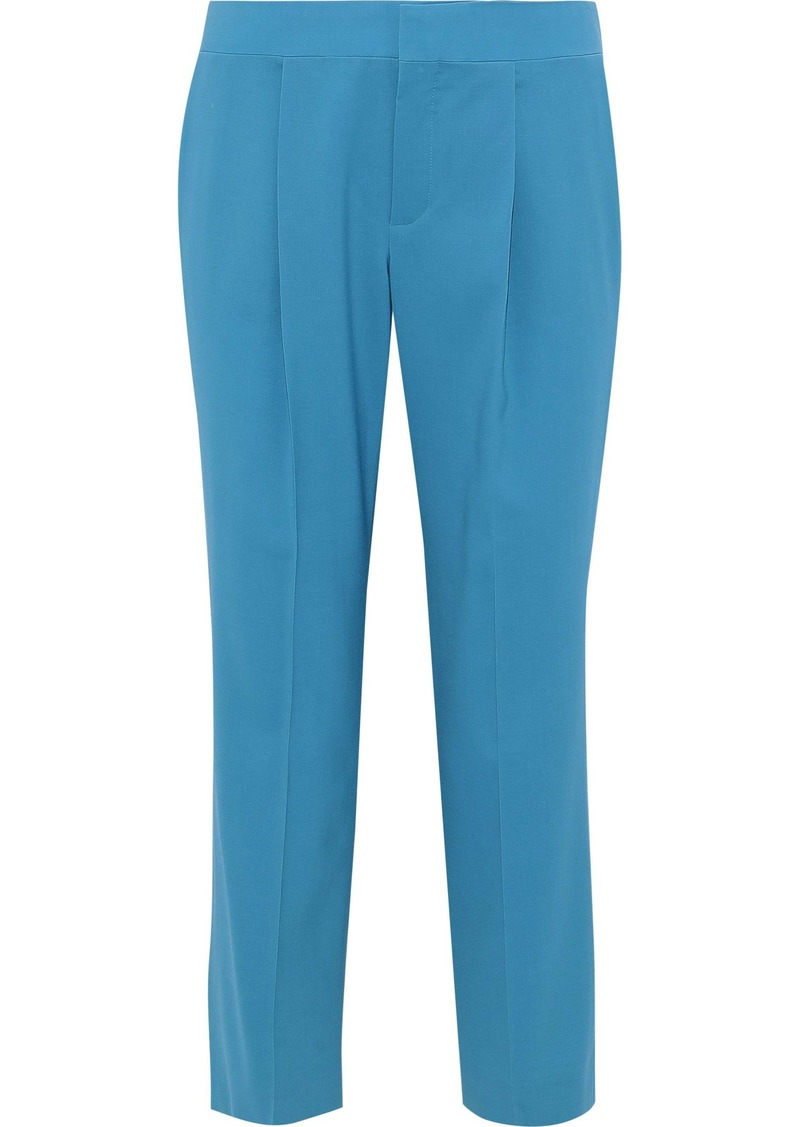 Chloé Woman Cropped Wool-blend Straight-leg Pants Turquoise