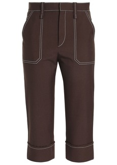 Chloé Woman Cropped Woven Tapered Pants Brown