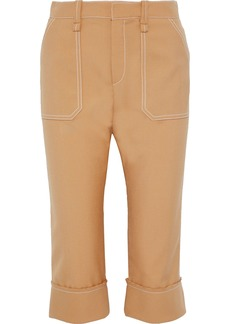 Chloé Woman Cropped Woven Tapered Pants Sand