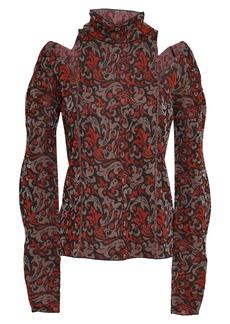 Chloé Woman Cutout Metallic Jacquard-knit Turtleneck Sweater Black