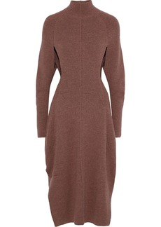 Chloé Woman Cutout Ribbed-knit Dress Brown