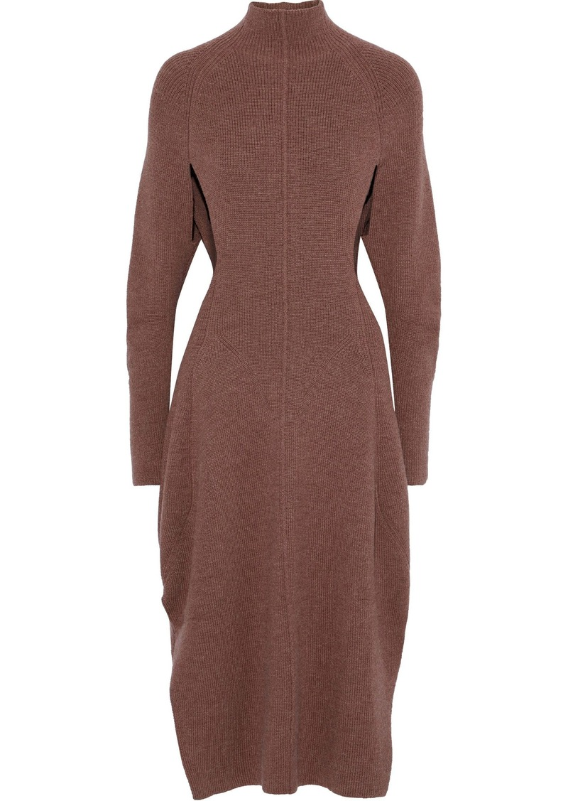 Chloé Woman Cutout Ribbed-knit Dress Brown