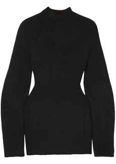 Chloé Woman Cutout Ribbed-knit Sweater Black