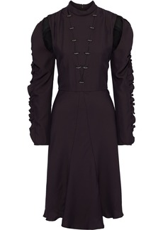 Chloé Woman Cutout Ring-embellished Silk-blend Crepe Dress Merlot
