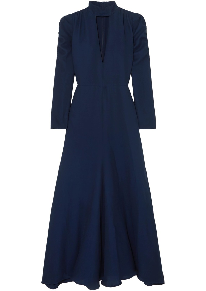 Chloé Woman Cutout Silk-blend Crepe Maxi Dress Navy