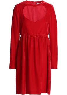 Chloé Woman Cutout Velvet Mini Dress Crimson