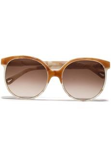 Chloé Woman D-frame Marbled Acetate Sunglasses Camel