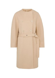 Chloé Woman Double-breasted Belted Wool-blend Felt Coat Beige