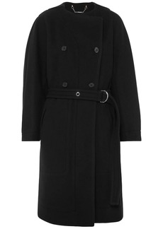 Chloé Woman Double-breasted Belted Wool-blend Felt Coat Midnight Blue
