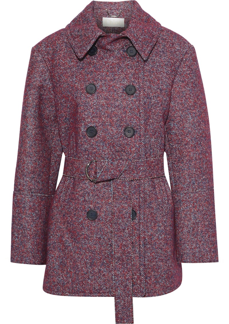 Chloé Woman Double-breasted Brushed Woven Coat Claret
