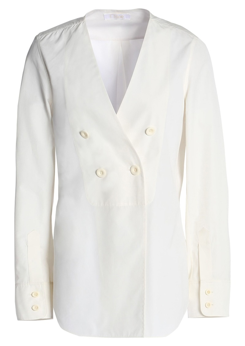 Chloé Woman Double-breasted Cotton-poplin Shirt Ivory