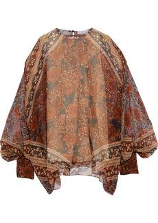 Chloé Woman Draped Printed Silk-georgette Blouse Multicolor
