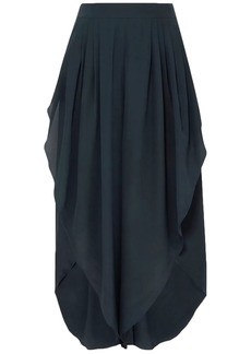 Chloé Woman Draped Silk Crepe De Chine Culottes Storm Blue