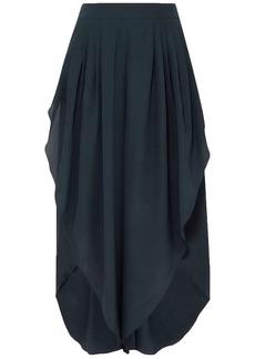 Chloé Woman Draped Silk Crepe De Chine Culottes Storm Blue