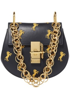 Chloé Woman Drew Bijou Mini Embroidered Leather Shoulder Bag Midnight Blue