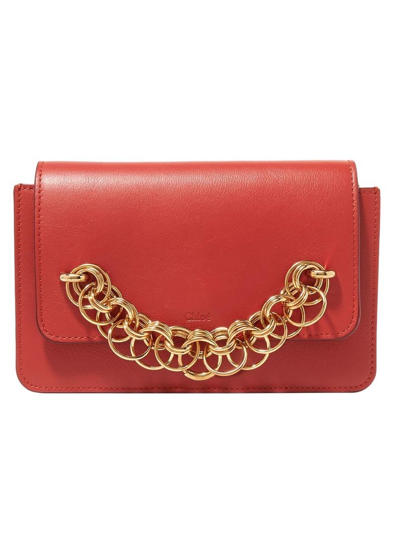 Chloé Woman Drew Bijou Textured-leather Clutch Red