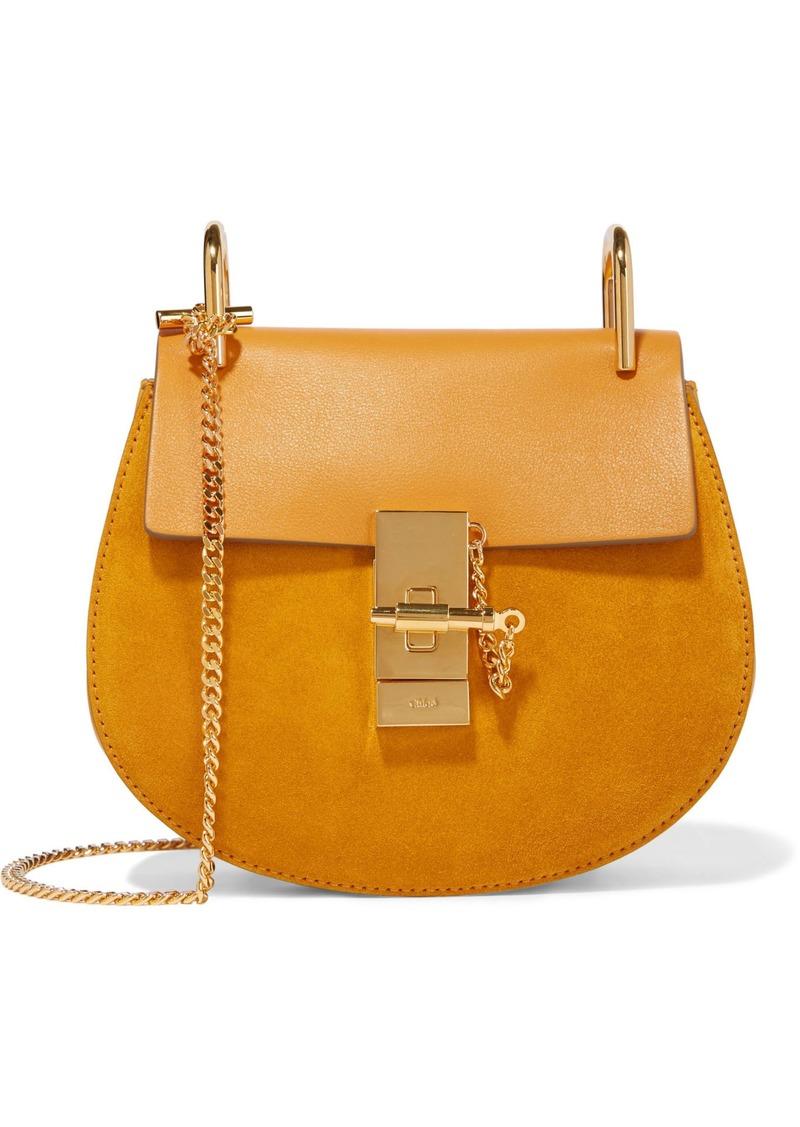 Chloé Woman Drew Mini Leather And Suede Shoulder Bag Saffron