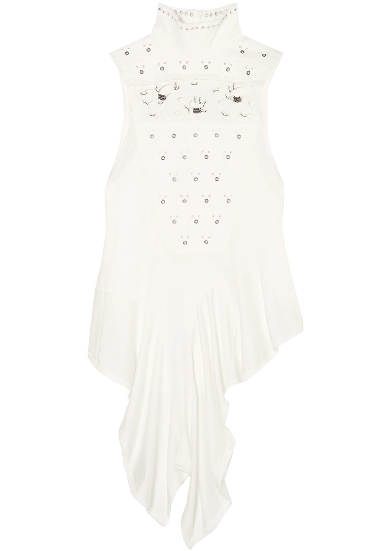 Chloé Woman Embellished Broderie Anglaise And Satin-jersey Turtleneck Top White