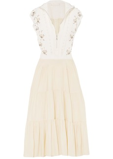 Chloé Woman Embellished Broderie Anglaise Linen And Cady Midi Dress Ivory