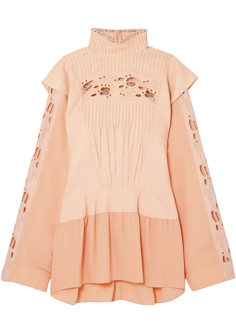 Chloé Woman Embellished Broderie Anglaise Linen And Cady Turtleneck Blouse Peach