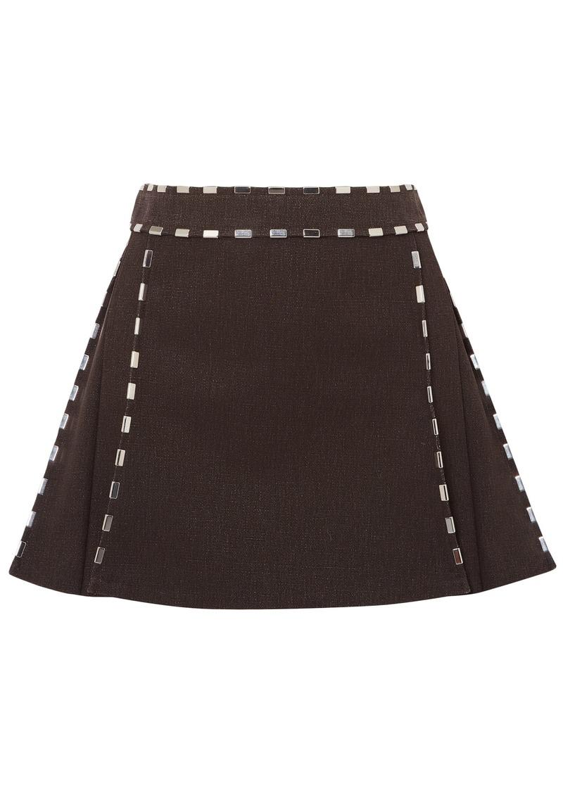 Chloé Woman Embellished Cotton-canvas Mini Skirt Dark Brown
