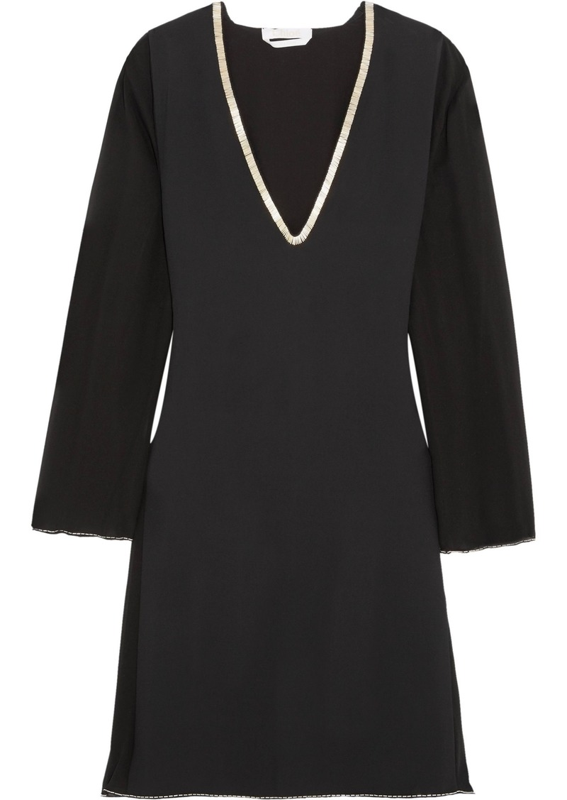 Chloé Woman Embellished Crepe And Silk-chiffon Mini Dress Black