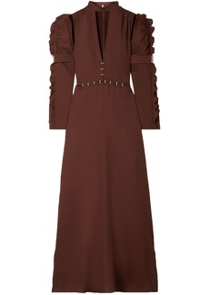 Chloé Woman Embellished Cutout Cady Gown Chocolate
