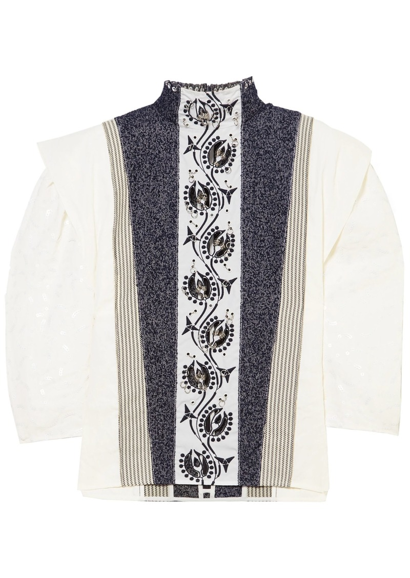 Chloé Woman Embellished Embroidered Linen Tweed And Canvas Blouse White