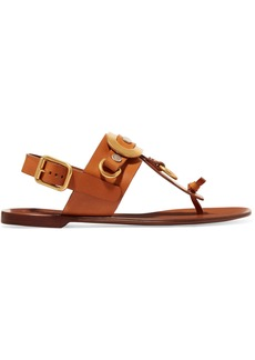 Chloé Woman Embellished Leather Slingback Sandals Tan