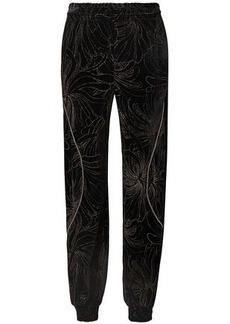 Chloé Woman Embellished Printed Velvet Track Pants Black