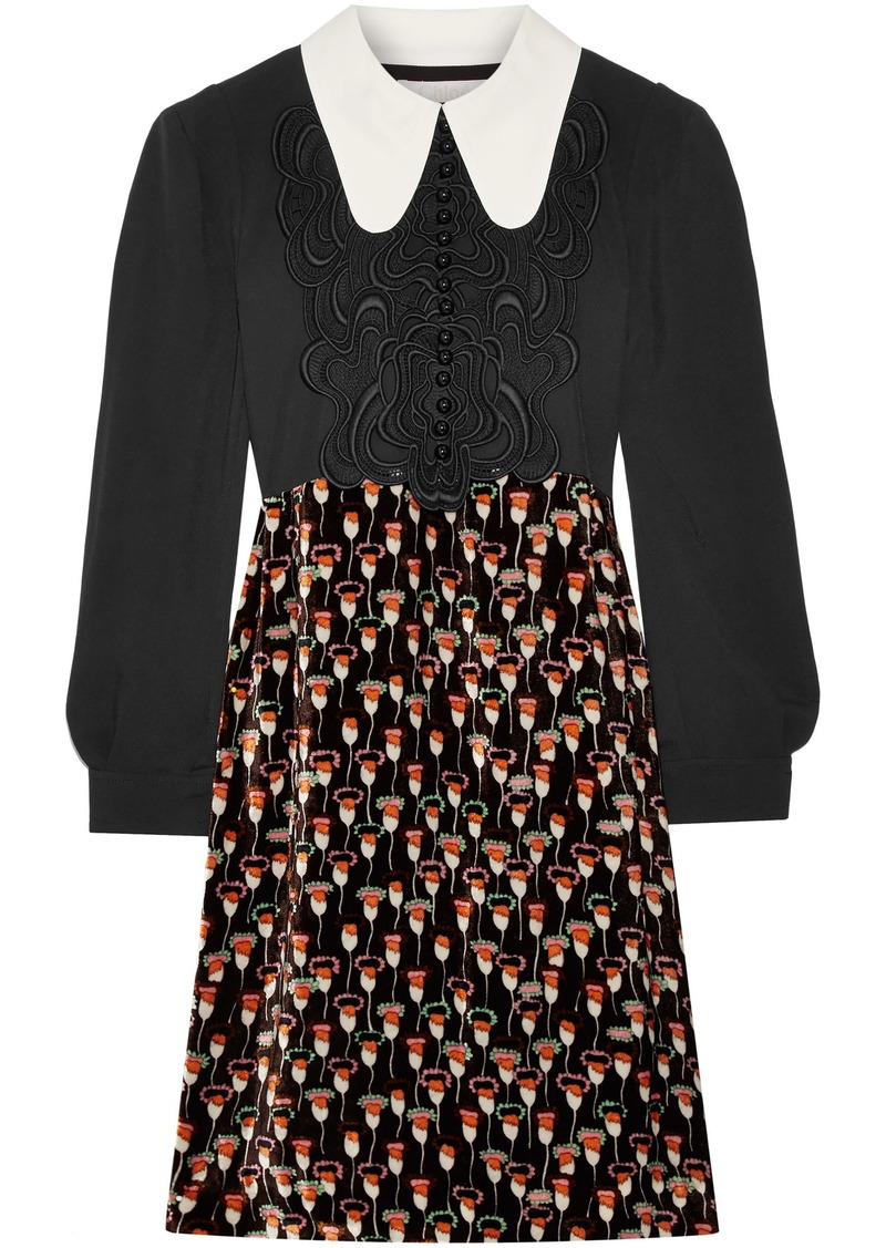 Chloé Woman Embroidered Cady And Printed Velvet Dress Black