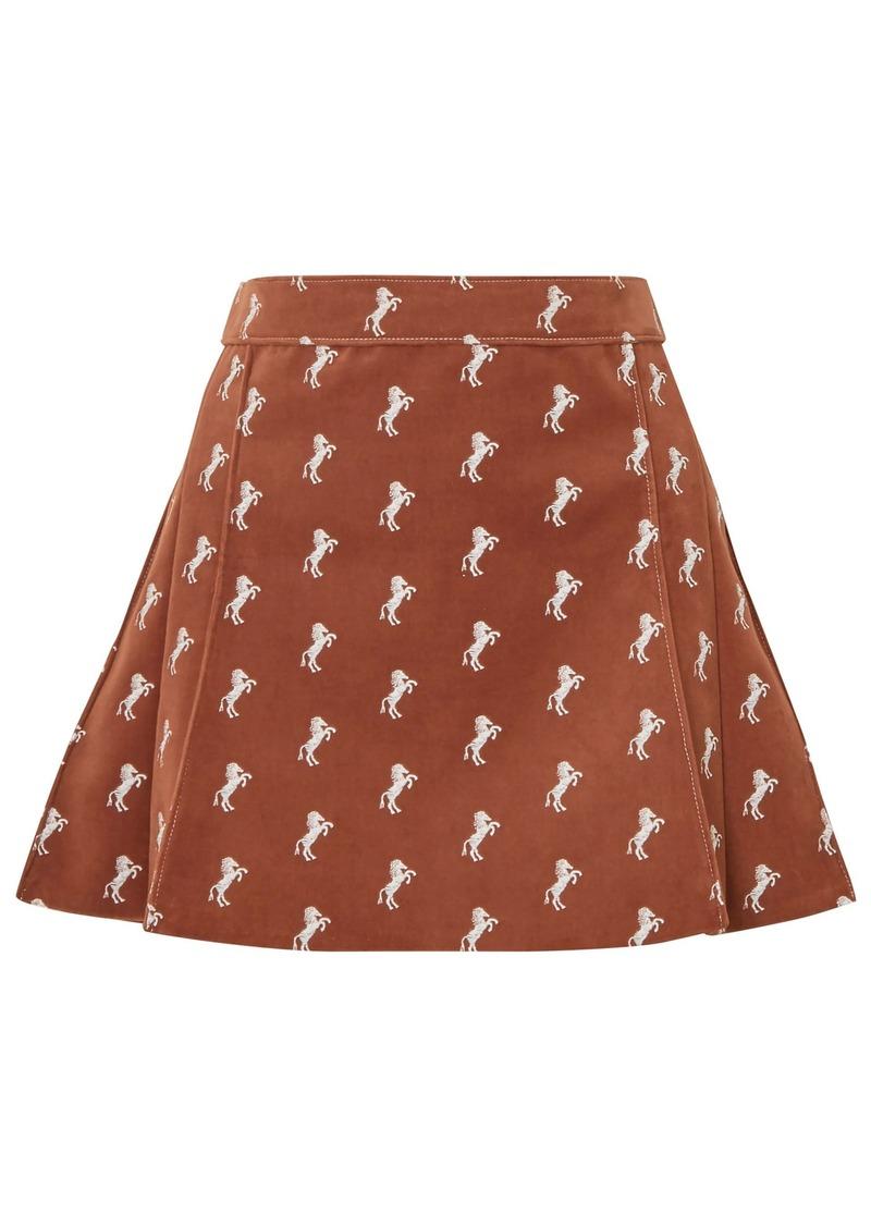 Chloé Woman Embroidered Cotton-blend Velvet Mini Skirt Brown